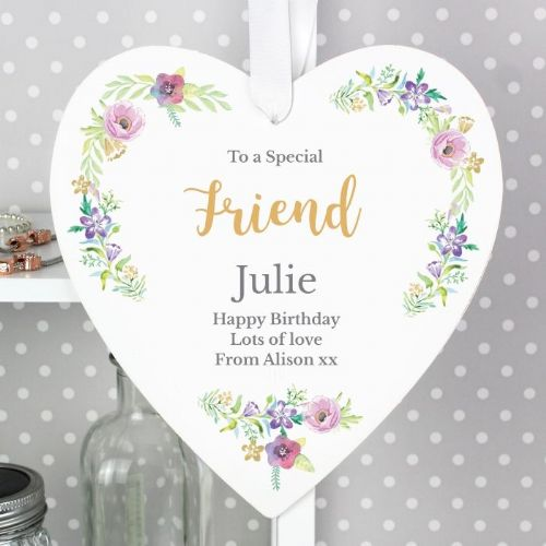 Personalised Floral Watercolour Heart Decoration